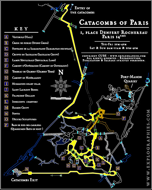 Paris Catacombs Map Catacombs Of Paris Maps - Paris tourist map english pdf